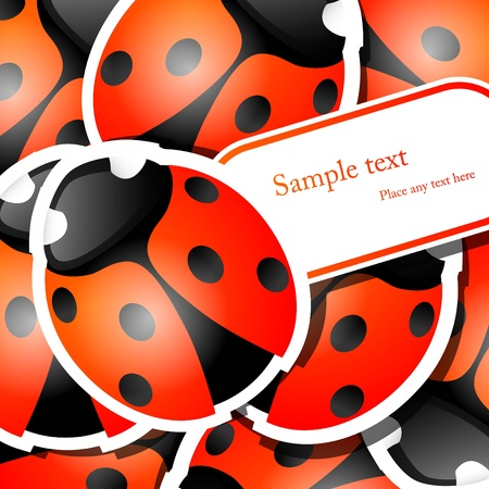 picture with ladybug stickers Stock Vector - 9446936