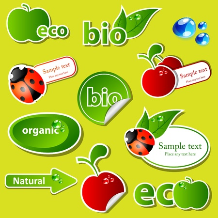 set with different bio sticker patterns Stock Vector - 9446933