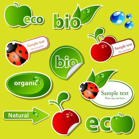 set with different bio sticker patterns Vector