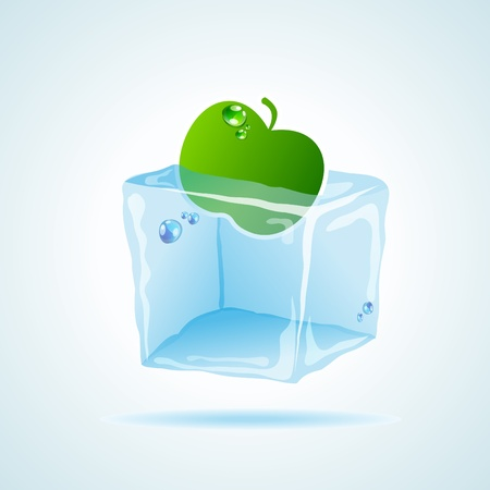 picture with icecube and apple sticker in it Vector