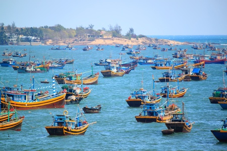 fishing lake: fishing boats on the sea, Vietnam, Phan Thiet