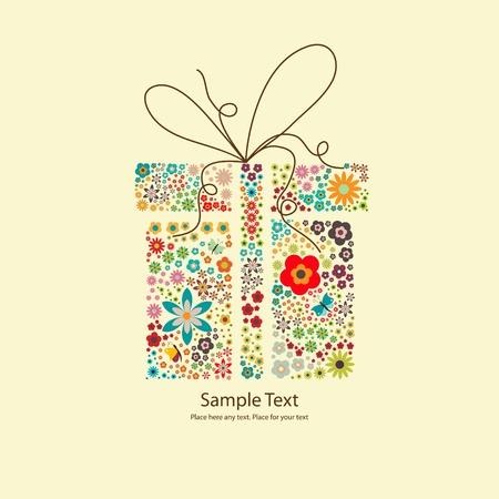 petites fleurs: Image vectorielle de cadeau � petites fleurs