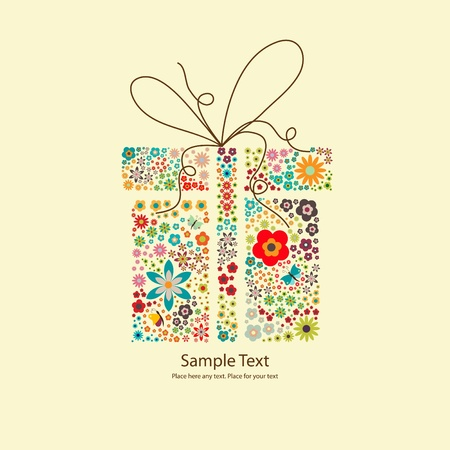 Vector picture of gift with small flowers