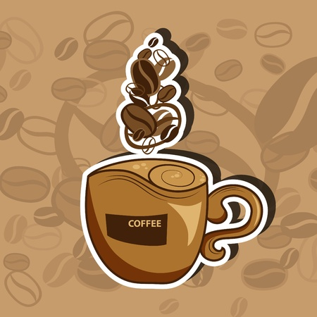 picture with coffee cup and steam Vector