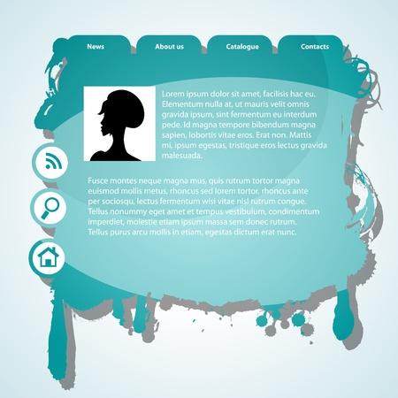 blue grunge website template Stock Vector - 9578919
