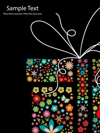 small flowers: gift with small flowers Illustration