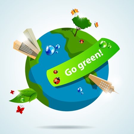 picture with Earth, buildings and plants Vector