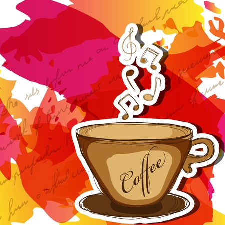 coffee cup and steam with music notes Vector