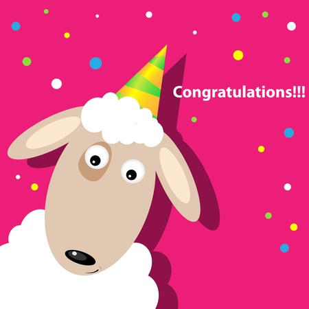 greeting card with a sheep Stock Vector - 9578985