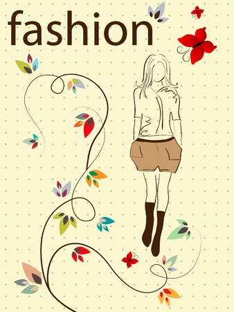 fashion girl and small flowers Vector