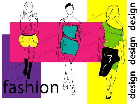 supermodel: Vector picture with 3 fashion girls