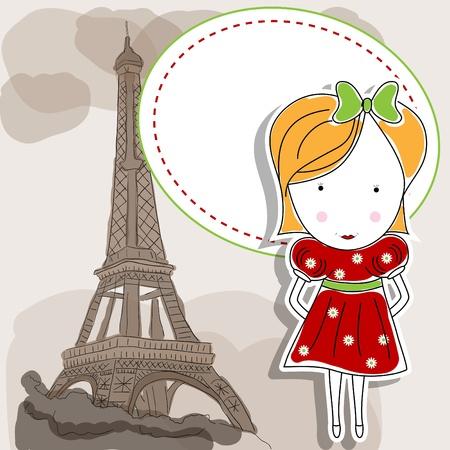Vector beeld met een meisje in rode jurk en de Eiffeltoren Stock Illustratie