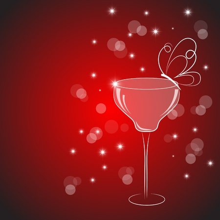vermouth: Vector picture with cocktail drink on red background