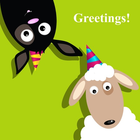 Vector greeting card with sheep and dog Vector