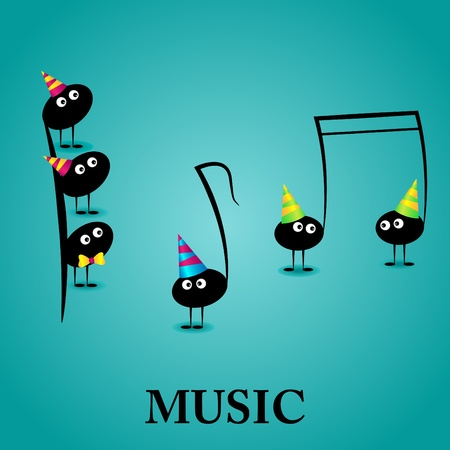 songs: Vector musical greeting card with funny notes Illustration