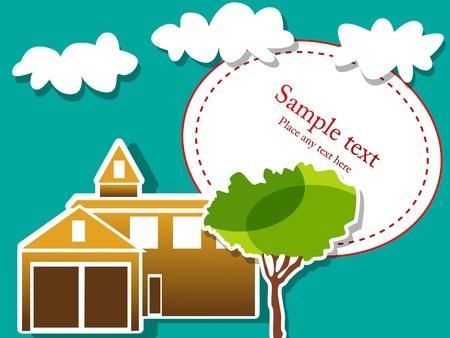 Immagine vettoriale con casa, albero e cielo
