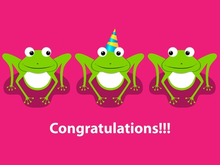 greeting card with  3 frogs Vector