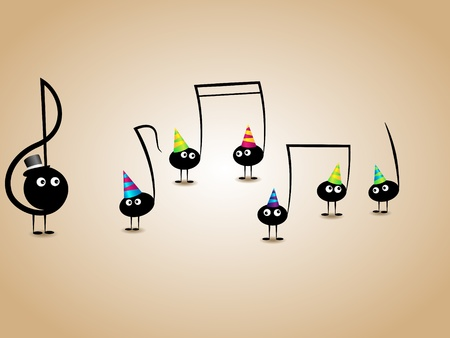 musical greeting card with funny notes Vector