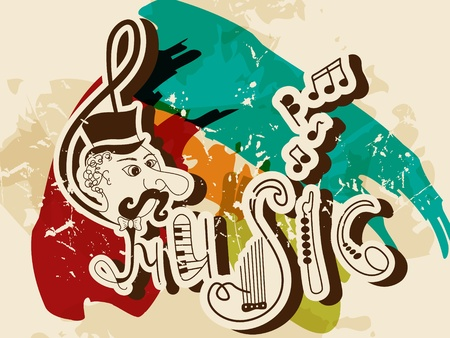 funny picture with written words MUSIC Illustration