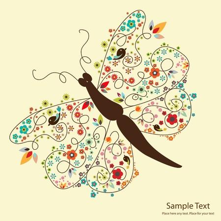 petites fleurs: image du papillon Mignon � petites fleurs Illustration