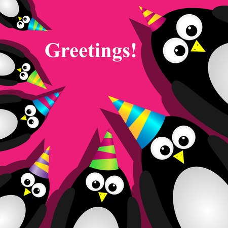 greeting card with a penguins Stock Vector - 9879479
