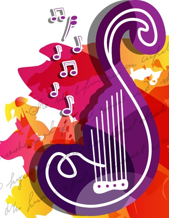 bright multicolored musical background  Vector