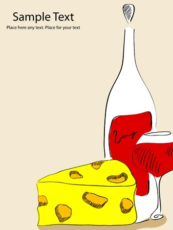 picture with drown wine bottle, wine glass and cheese Vector