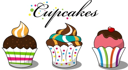 cute chocolate: picture with 3 cupcakes
