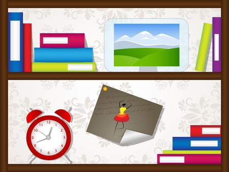 picture with book shelves, clock and picture frame Vector