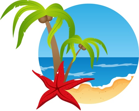 picture with beach and sea Stock Vector - 9879919