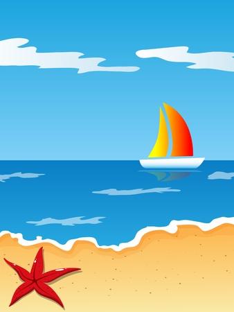 sandy: foto con playa y el mar Vectores