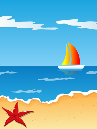 starfish beach: picture with beach and sea Illustration