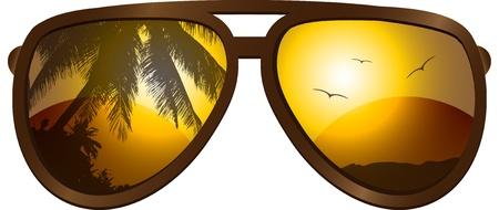 sun glass: imagen con gafas de sol Vectores