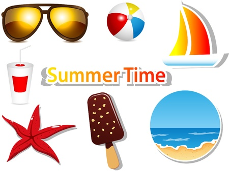 zomers drankje: instellen met zomer pictogrammen Stock Illustratie