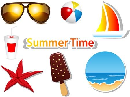summer drink: set with summer icons Illustration