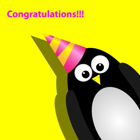 congrats: greeting card with a penguin Illustration