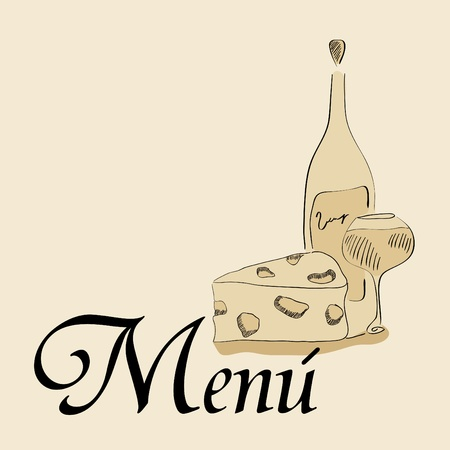 menu pattern with wine and cheese Vector