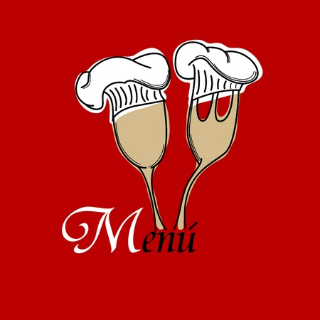 menu pattern with spoon and fork on red background Vector