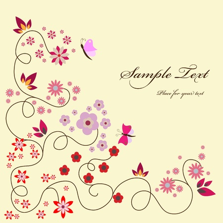 pink floral greeting card Vector