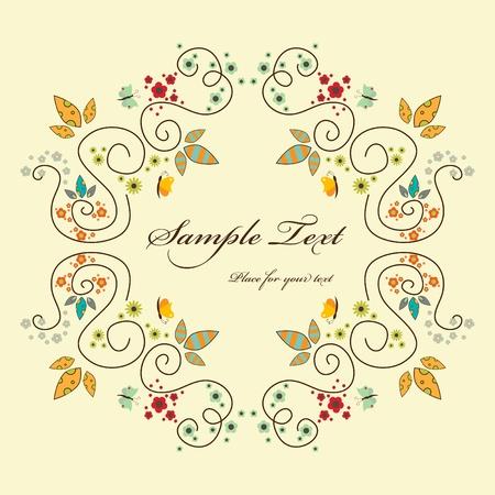 wish of happy holidays: floral elegant frame