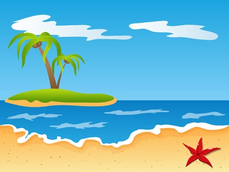 seastar: picture with beach and sea Illustration