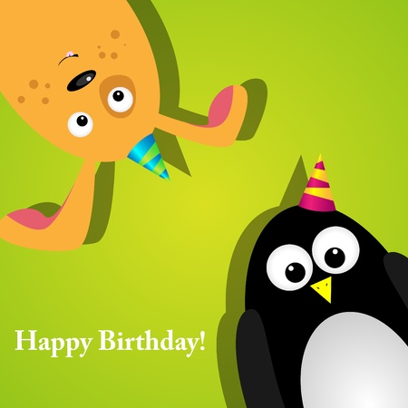 greeting card with a penguin and dog Vector