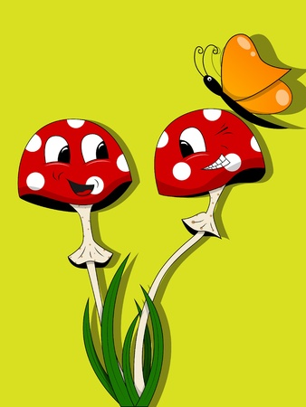 funny mushrooms and butterfly Stock Vector - 10059872