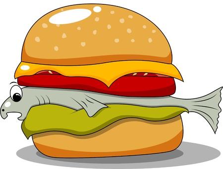 funny hamburger with fish Vector