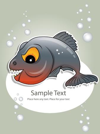 gray piranha Vector