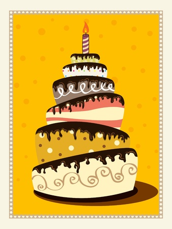 retro picture with birthday cake Stock Vector - 10059874