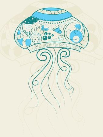 bizarre jellyfish Vector