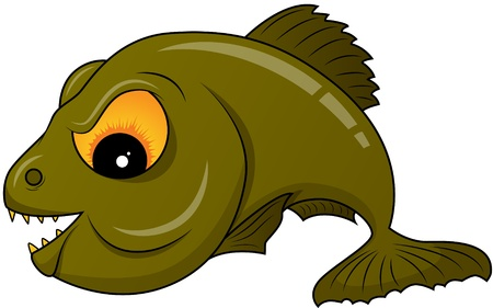 piranha: Vector picture of green piranha Illustration