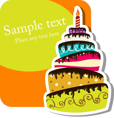 Image vectorielle avec gâteau d'anniversaire Banque d'images - 10200937