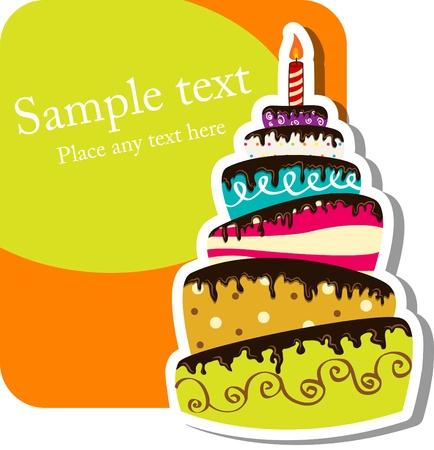 Immagine vettoriale con torta di compleanno Vettoriali